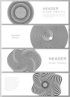 Encabezados, plantillas de diseño de banner. abstracto 3d geométrico con ilusión óptica en blanco y negro