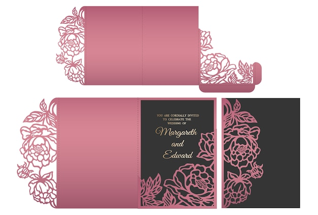 Encaje floral con corte láser sobre de bolsillo triple para invitaciones de boda. maqueta de invitación de boda. diseño de sobre de bolsillo.