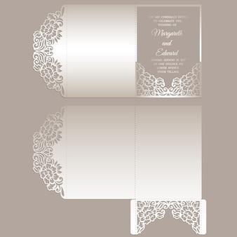 Encaje floral con corte láser sobre de bolsillo triple para invitaciones de boda. maqueta de invitación de boda ornamental. diseño de sobre de bolsillo.