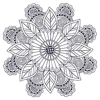 Encaje redondo ornamental con damasco y elementos arabescos.