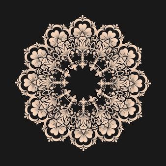 Encaje redondo ornamental con damasco y elementos arabescos