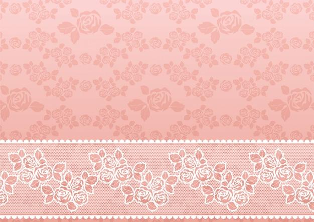 Encaje rosa patern con borde
