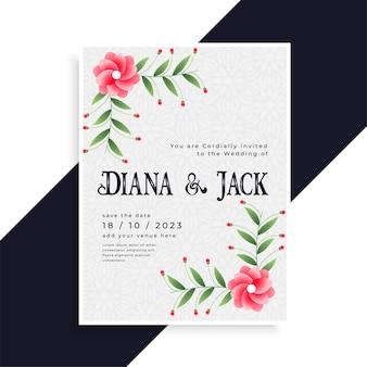 Encantador diseño de tarjeta de invitación de boda