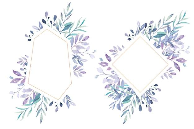 Encantador marco floral con hojas azul marino