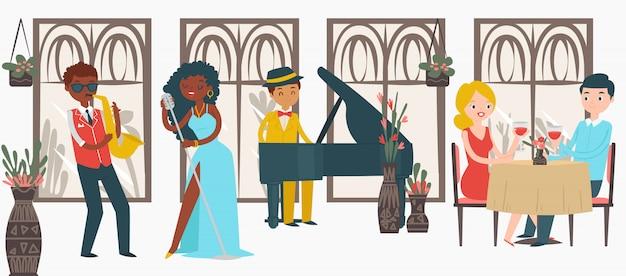 Encantador par masculino femenino fecha restaurante de jazz, amante de carácter par escuchar música en blanco, ilustración.
