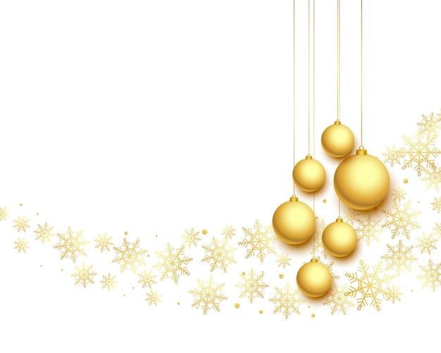 Encantador saludo festivo de navidad en colores blanco y dorado.