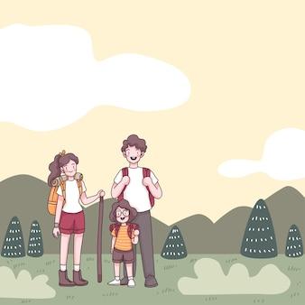 Encantadora familia con padre, madre y linda niña, tienen mochila para caminar en la naturaleza en las vacaciones de verano, personaje de dibujos animados, ilustración de vecter plano