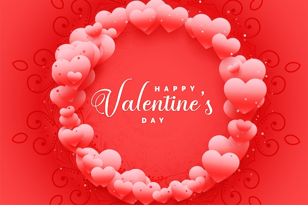 Encantadora feliz día de san valentín corazones marco tarjeta de felicitación