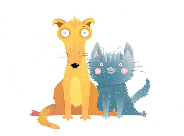 Encantadora ilustración plana de animales domésticos. adorables mascotas sentados juntos personajes de dibujos animados. gatito gris sonriente con amigo mestizo. gatito divertido y cachorro naranja en pose cómica de pierna dividida
