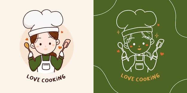 Encantadora linda chica chef con elementos de logo de cuchara de madera y espátula de silicona ilustración dibujada a mano.