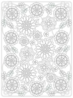 Encantadora página para colorear floral en línea exquisita