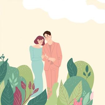 Encantadora pareja abrazos