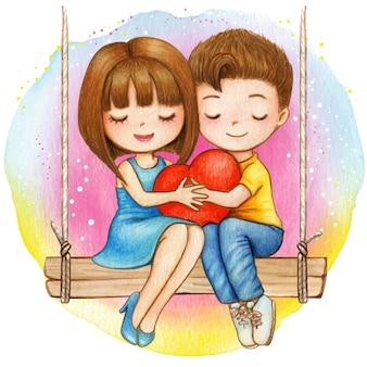 Encantadora pareja acuarela sentada en un columpio sosteniendo un corazón juntos