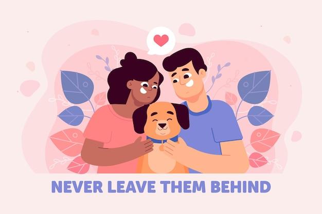 Encantadora pareja adoptando un perro