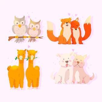 Encantadora pareja de animales de dibujos animados juntos