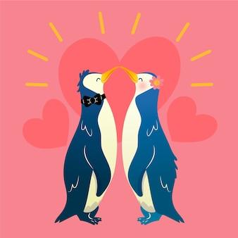 Encantadora pareja de animales de san valentín