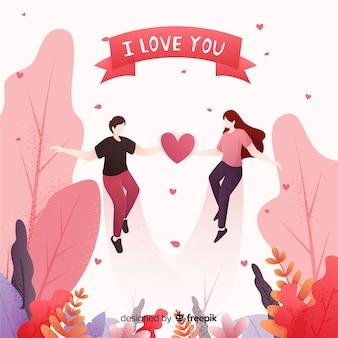 Encantadora pareja en un bosque con corazones