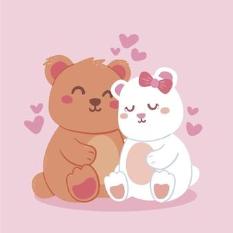 Encantadora pareja de osos ilustrada
