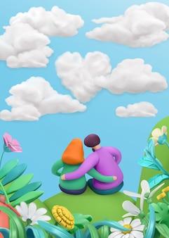 Encantadora pareja en un paisaje de primavera en estilo de dibujos animados