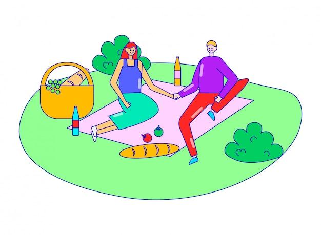 Encantadora pareja personaje masculino femenino en la fecha romántica del bosque, picnic al aire libre en el bosque relajarse en blanco, ilustración de línea.