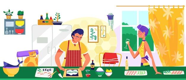 Encantadora pareja de personajes femeninos y masculinos juntos cocinando comida
