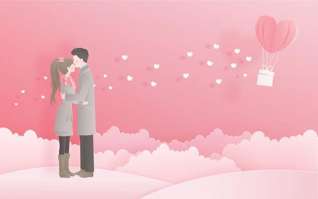 Encantadora pareja para la tarjeta de san valentín con concepto de amor en estilo de corte de papel dulce