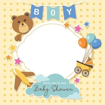 Encantadora tarjeta de baby shower con espacio vacío