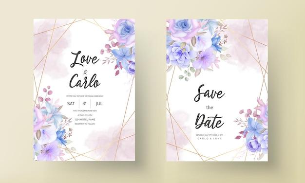 Encantadora tarjeta de invitación de boda floral rosa suave y azul
