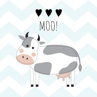 Encantadora vaca sobre un fondo de zigzags azules.