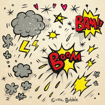 Encantadores efectos de sonido cómicos de estilo doodle sobre fondo beige