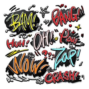 Encantadores efectos de sonido cómicos de estilo doodle sobre fondo blanco.