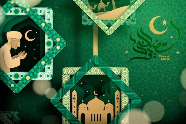 Encantadores elementos culturales de ramadán en un marco abstracto con caligrafía de ramadán kareem sobre fondo verde