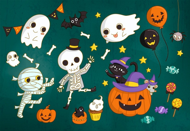 Encantadores personajes de halloween y elementos de calabaza en estilo dibujado a mano