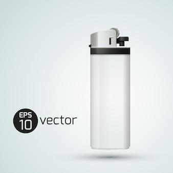 Encendedor de gas realista aislado blanco
