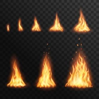 Encendiendo etapas de fuego, quemando el efecto de fuego de fogata para animación. llama de antorcha 3d realista, hoguera de resplandor naranja y amarillo brillantes elementos de bengala sobre fondo transparente