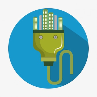 Enchufe de energía con ciudad verde