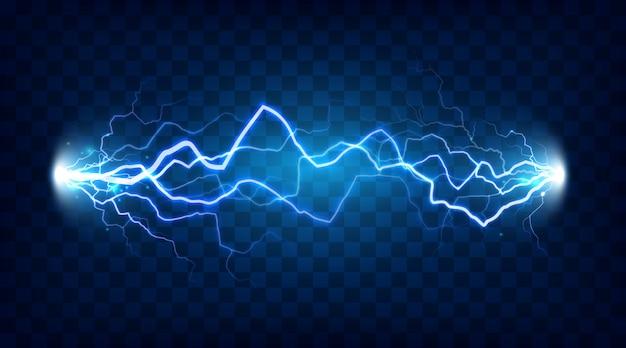 Encienda la energía eléctrica con un rayo o electricidad ejerza efectos en una ilustración de bombardeo aislado realista sobre fondo a cuadros