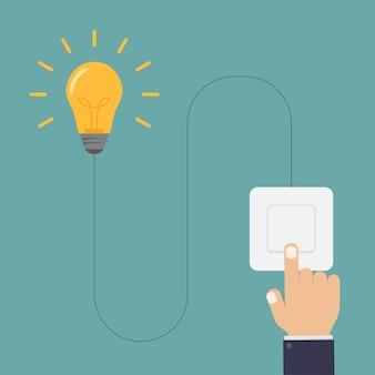 Encienda las luces con la ilustración de diseño de interruptor de luz