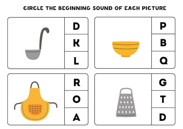 Encierra en un círculo el sonido inicial de cada imagen. juego educativo para niños.