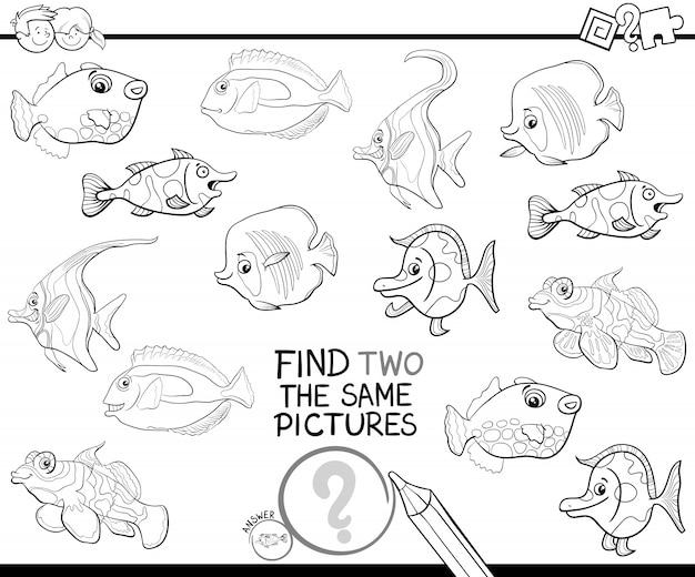 Encontrar dos imágenes idénticas para colorear página