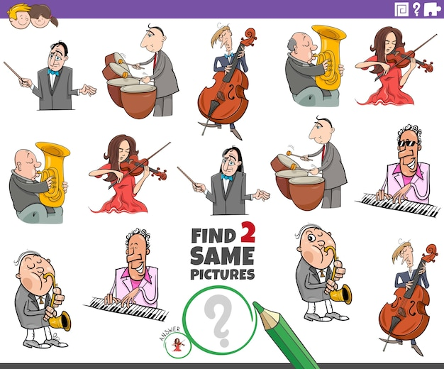 Encontrar dos mismos músicos tarea educativa para niños