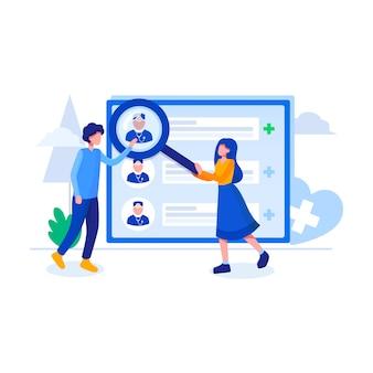 Encontrar ilustración de vector de servicio en línea de médico