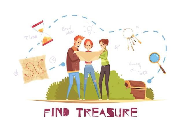 Encontrar la ilustración del vector del tesoro
