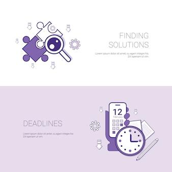 Encontrar soluciones y plazos plantilla de concepto de negocio web banner