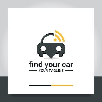 Encontrar wifi de señal de vector de diseño de logotipo de coche ubicado