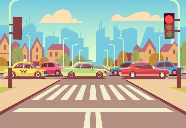 Encrucijada de la ciudad de dibujos animados con coches en atasco de tráfico, acera, cruce de peatones y paisaje urbano ilustración vectorial