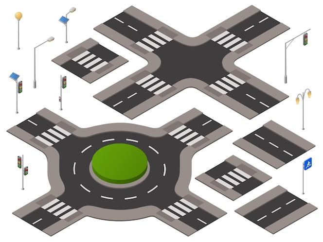 Encrucijada isométrica establecido. infraestructura del transporte de la carretera 3d, paisaje urbano
