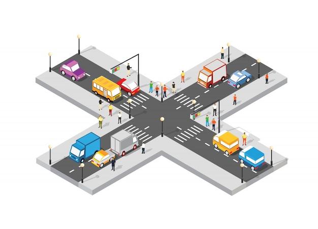 Encrucijada isométrica intersección de calles con personas