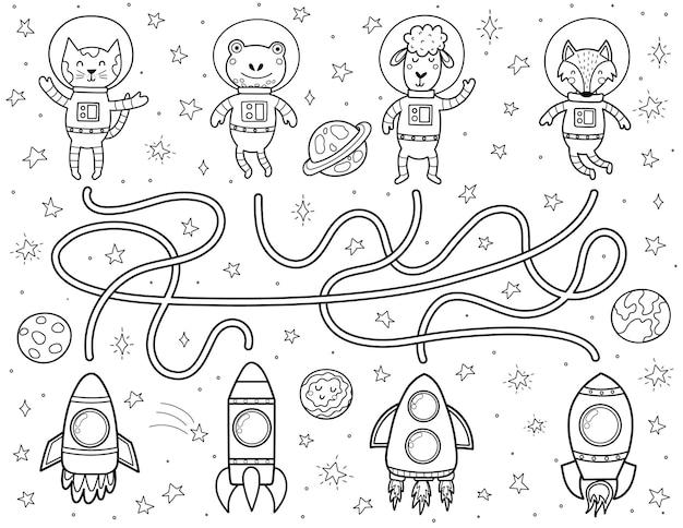 Encuentra el camino correcto hacia los cohetes para cada animal astronauta laberinto espacial en blanco y negro para niños