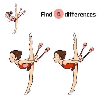Encuentra diferencias, juego educativo para niños, clubes de gimnastas y malabares
